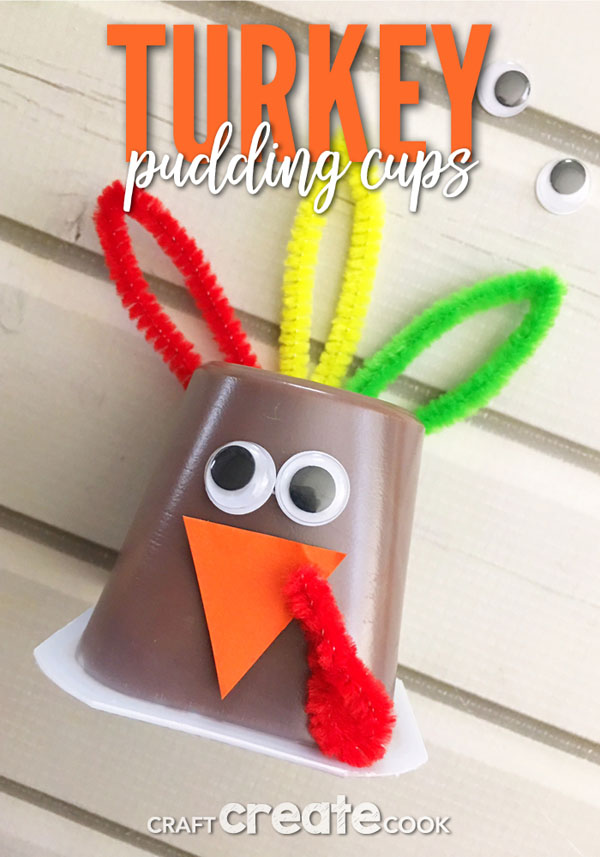 Turkey Pudding Cups from Craft Create Cook | Featured in the Ultimate Turkey Crafts for Kids Roundup {OneCreativeMommy.com}