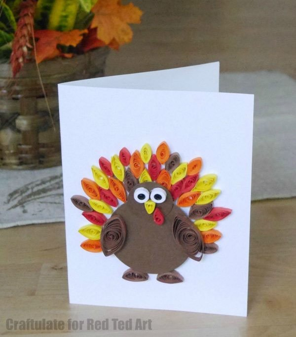Quilled Thanksgiving Cards from Craftulate via Red Ted Art | Featured in the Ultimate Turkey Crafts for Kids Roundup {OneCreativeMommy.com}