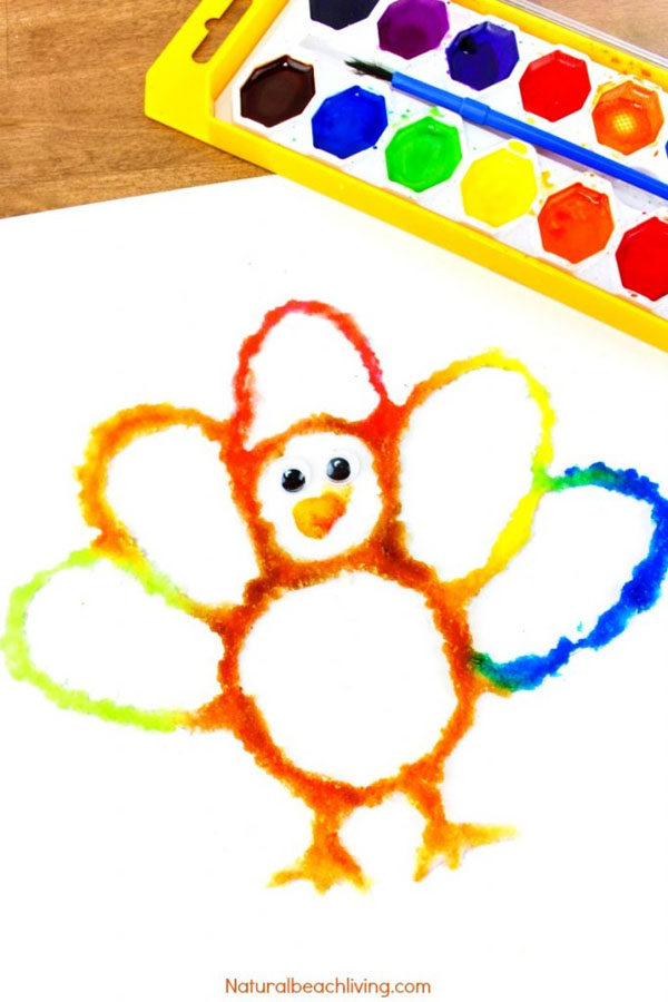 Thanksgiving Turkey Salt Painting from Natural Beach Living | Featured in the Ultimate Turkey Crafts for Kids Roundup {OneCreativeMommy.com}