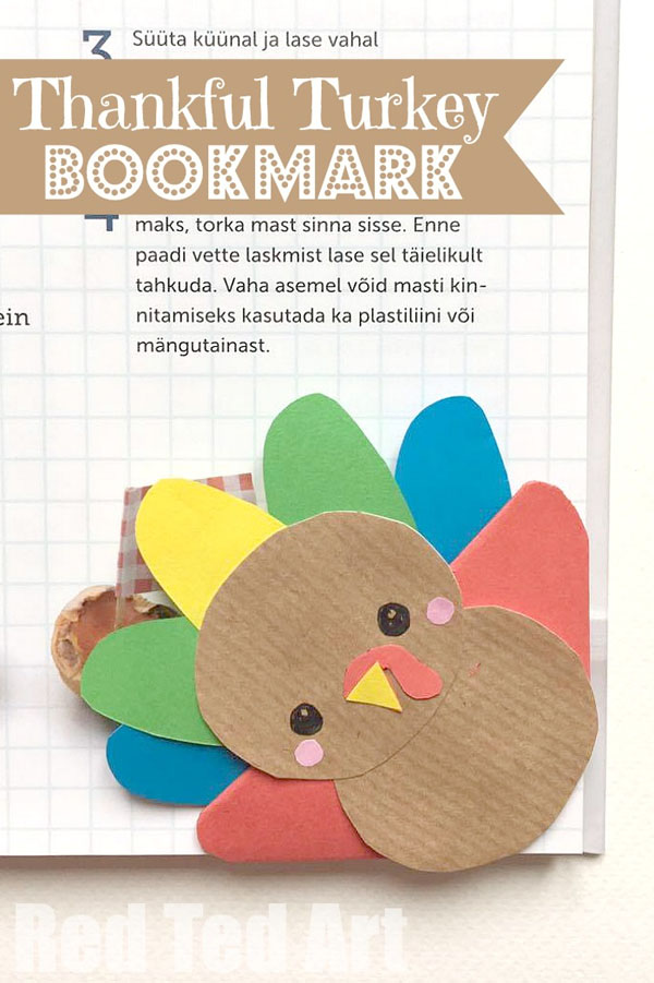 Thankful Turkey Corner Bookmark from Red Ted Art | Featured in the Ultimate Turkey Crafts for Kids Roundup {OneCreativeMommy.com}