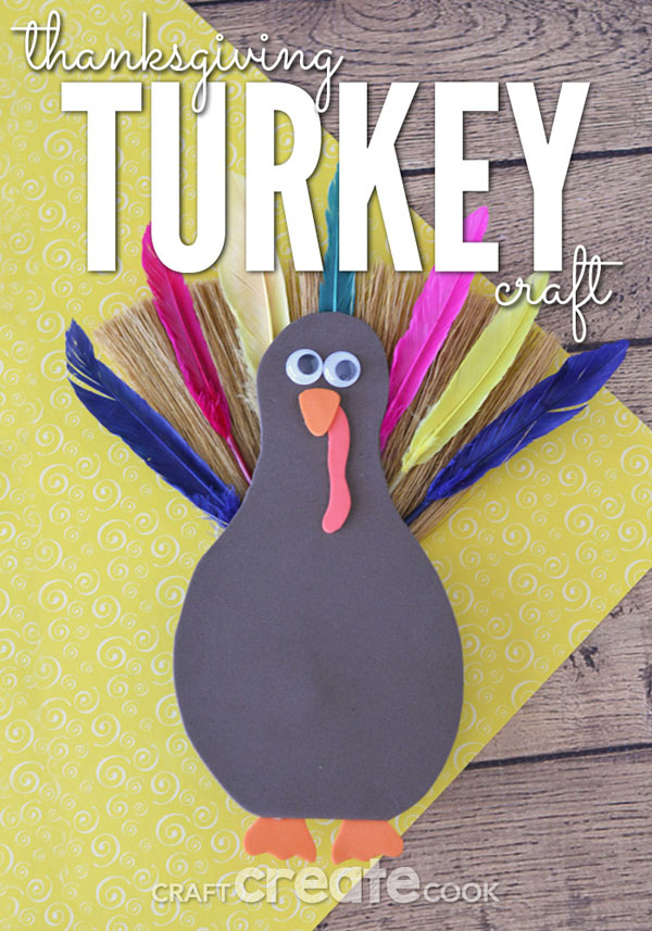 Thanksgiving Turkey Craft from Craft Create Cook | Featured in the Ultimate Turkey Crafts for Kids Roundup {OneCreativeMommy.com}
