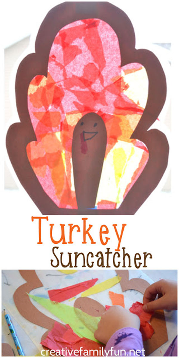 Turkey Suncatchers from Creative Family Fun | Featured in the Ultimate Turkey Crafts for Kids Roundup {OneCreativeMommy.com}