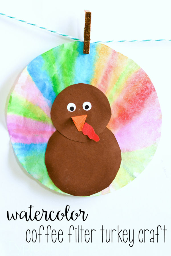 Watercolor Coffee Filter Turkey Craft from Typically Simple | Featured in the Ultimate Turkey Crafts for Kids Roundup {OneCreativeMommy.com}