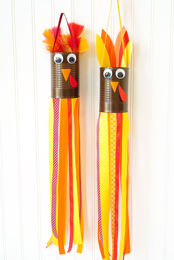 Turkey Windsocks Kids Craft from Happiness is Homemade | Featured in the Ultimate Turkey Crafts for Kids Roundup {OneCreativeMommy.com}
