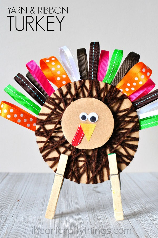 Yarn and Ribbon Turkey from I Heart Crafty Things | Featured in the Ultimate Turkey Crafts for Kids Roundup {OneCreativeMommy.com}