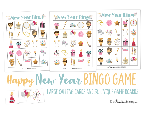 Keep the kids busy this New Year's Eve New Years Eve Bingo! Good, clean family fun. {OneCreativeMommy.com} New Year's Eve Activities for kids #newyearseve #bingo #kidsactivities