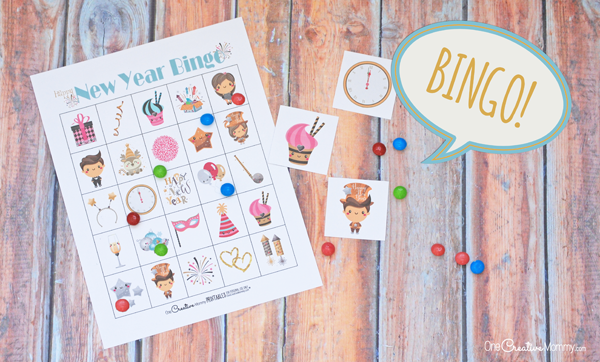 Keep the kids busy this New Year's Eve with Free Printable New Years Eve Bingo! {OneCreativeMommy.com} New Year's Eve Activities for kids #happynewyear #newyearseve #bingo #printable #familyfun #gamenight