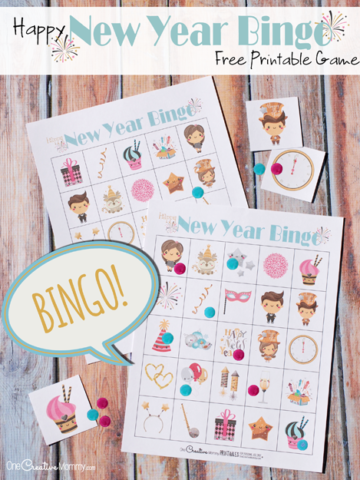 Keep the kids busy this New Year's Eve with Free Printable New Years Eve Bingo! {OneCreativeMommy.com} New Year's Eve Activities for kids