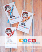 These free Coco printable Valentines are the cutest! The kids are going to love them this Valentine's Day! {OneCreativeMommy.com}