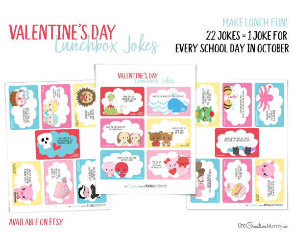 The cutest Valentine Lunchbox jokes available on Etsy! Set of 20 jokes {OneCreativeMommy.com} #valentinejokes #lunchboxjokes #lunchboxlovenotes