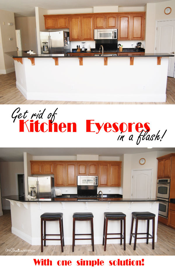 Update your kitchen in a flash with this simple kitchen fix {OneCreativeMommy.com} Why didn't I try this years ago? #kitchenfix #diy #makeover