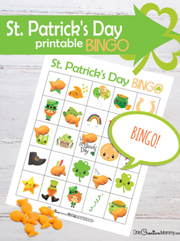 Looking for a fun activity for St. Patty's Day? Download this amazing free printable St. Patrick's Day Bingo game! {OneCreativeMommy.com} #stpatricksday #bingo #printable #familyfun #kidsactivities