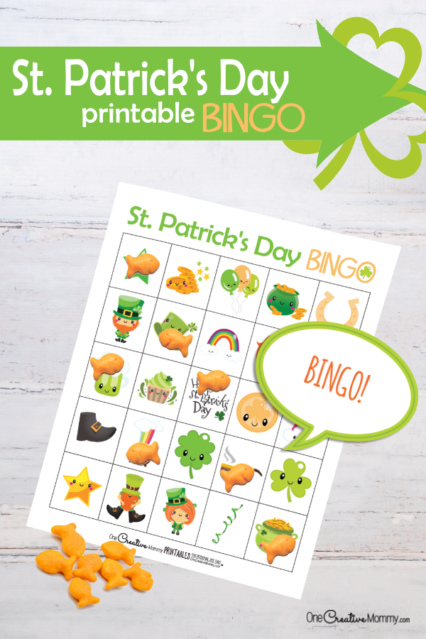 Looking for a fun activity for St. Patrick's Day? Download this amazing free printable St Patricks Day Bingo game! {OneCreativeMommy.com} #stpatricksday #bingo #printable #familyfun #kidsactivities