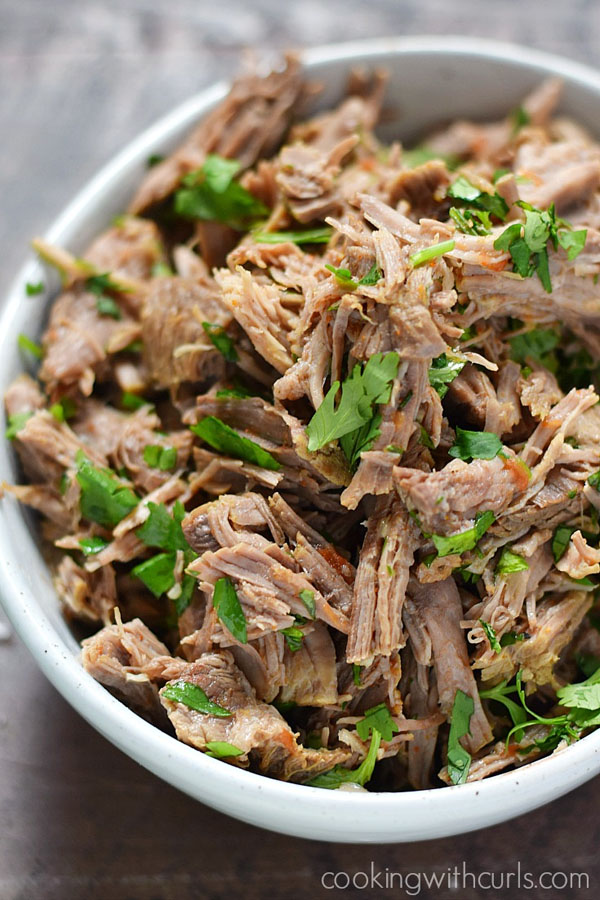 Mexican Style Shredded Beef {Instant Pot} from Cooking with Curls | Featured in Amazing Dairy & Gluten Free Instant Pot Recipes Roundup {OneCreativeMommy.com} #instantpot #dairyfree #glutenfree #pressurecooker