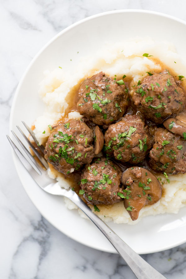 Instant Pot Swedish Meatballs with Mushroom Gravy from Wholefully | Featured in Amazing Dairy & Gluten Free Instant Pot Recipes Roundup {OneCreativeMommy.com} #instantpot #dairyfree #glutenfree #pressurecooker