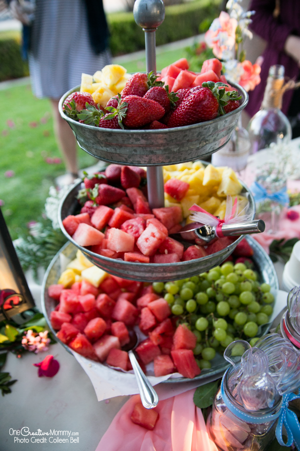 Fruit tray for a gluten free wedding reception {OneCreativeMommy.com} #glutenfree #weddingreception #weddingfood
