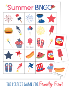 Are your kids already bored with summer vacation? Summer Bingo is perfect for family night, barbecues and family reunions {OneCreativeMommy.com} Get your free printable game today. #summerfun #bingo #familynight