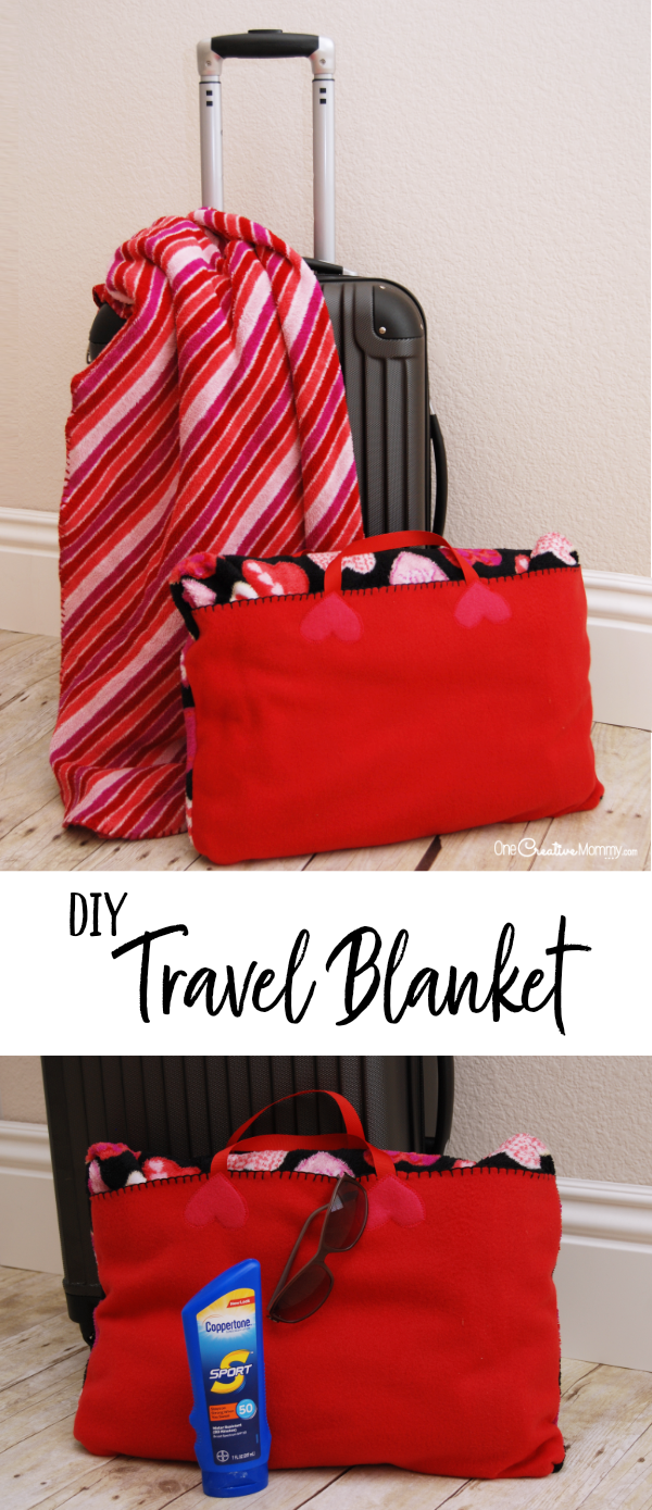 Turn any blanket into a travel blanket perfect for an airplane or the beach with this simple video tutorial {OneCreativeMommy.com} #tutorial #travelblanket #travlehacks Travel Blanket Video Tutorial