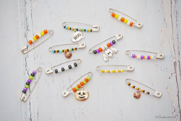 Remember trading friendship pins as a kid? Start the trend again with this retro Halloween friendship pins craft idea {OneCreativeMommy.com} #halloween #halloweencraft #kidscraft #friendship #beading #trendy