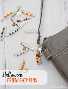 Such a cool retro Halloween friendship pins craft for kids! Decorate your shoes, backpack or purse with these fun Halloween pins. {OneCreativeMommy.com} #halloween #halloweencraft #kidscraft #friendship #beading #trendy