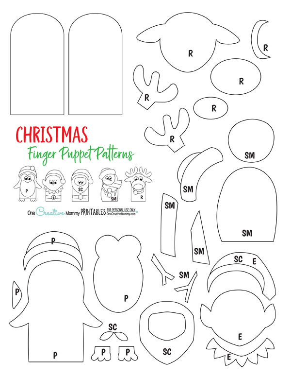 Christmas Finger Puppet Patterns {Stop by OneCreativeMommy.com to download the free printable pdf file}