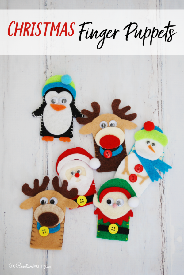 These Christmas finger puppets were so fun to make with the kids! I can't decide which one's my favorite. The templates were so helpful. Santa, Snowman, Reindeer, Penguin and Elf {OneCreativeMommy.com} #fingerpuppets #christmascrafts #wintercrafts #kidscrafts #santa