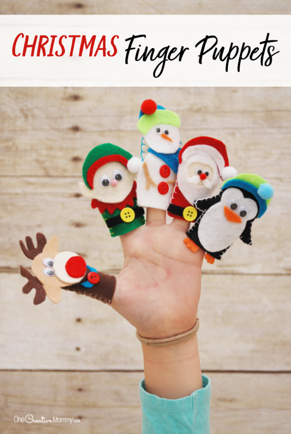 These Christmas finger puppets are the cutest! I can't wait to make them with the kids. There's even a printable template of all the designs! Santa, Penguin, Elf, Snowman and Reindeer {OneCreativeMommy.com} #christmas #kidscrafts #christmascrafts #fingerpuppets #felt #video