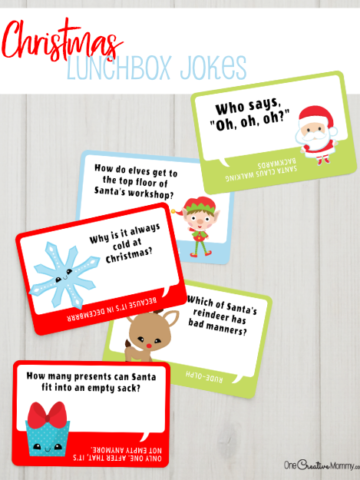 Aren't these Christmas lunchbox jokes the cutest? My kids can't wait to share the next joke with their friends each day. What a great way to make school lunch fun. {OneCreativeMommy.com} Free printables #lunchboxideas #lunchboxnotes #jokes #christmas