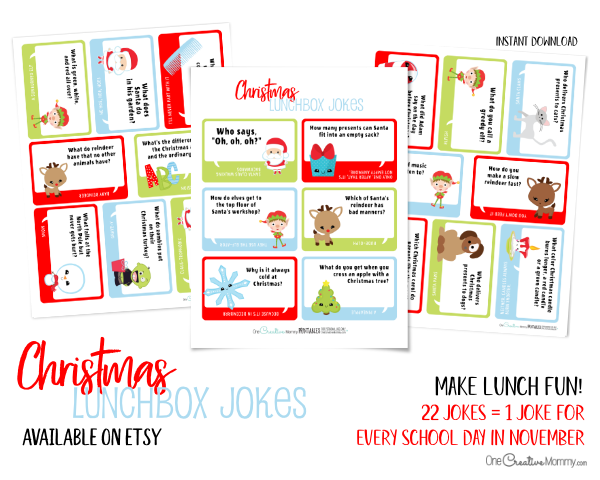 Christmas Lunchbox Jokes for Kids | Etsy | My kids absolutely love getting a joke in their lunchbox every day, and these jokes are the cutest! #lunchboxideas #lunchboxnotes #jokes #christmas