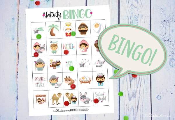This nativity bingo game is so cute! I love that it's about the birth of the Savior. {OneCreativeMommy.com} #christmasgamesforkids #nativity #bingo #christmas #familyfun