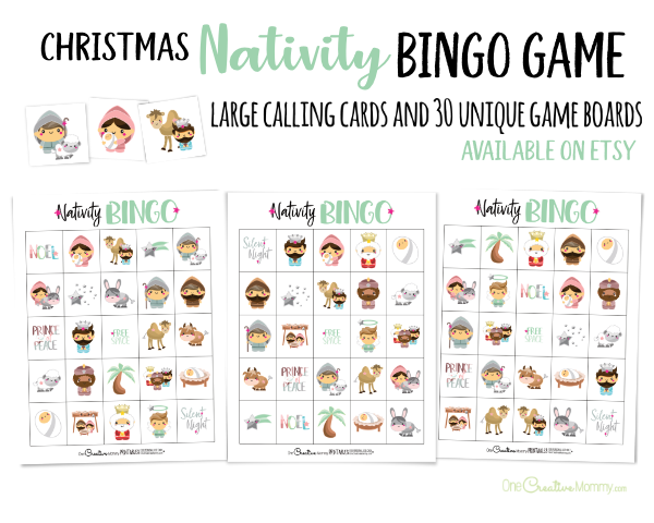 Nativity Bingo Game with 30 Unique Boards available on Etsy {OneCreativeMommy.com} Free family set on the blog