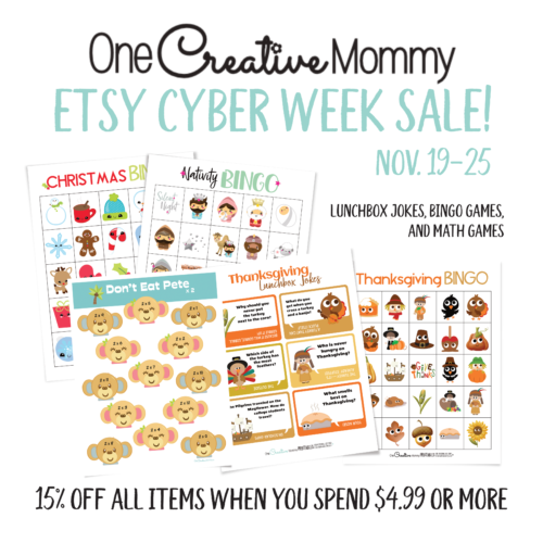 Etsy Cyber Week Sale on One Creative Mommy!
