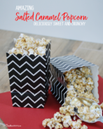 Oh my! This salted caramel popcorn is to die for! It's sweet, crunchy, and oh, so good! Do I have to share? {OneCreativeMommy.com} What a yummy snack idea! #saltedcaramel #caramelpopcorn #popcornrecipes