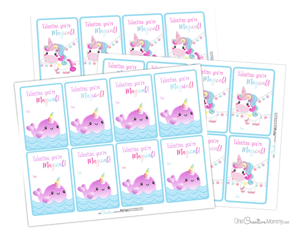 These unicorn valentines are the cutest! I'm downloading the free printables today. {OneCreativeMommy.com} #unicorns #valentinesday #printablevalentines #valentines #schoolvalentine