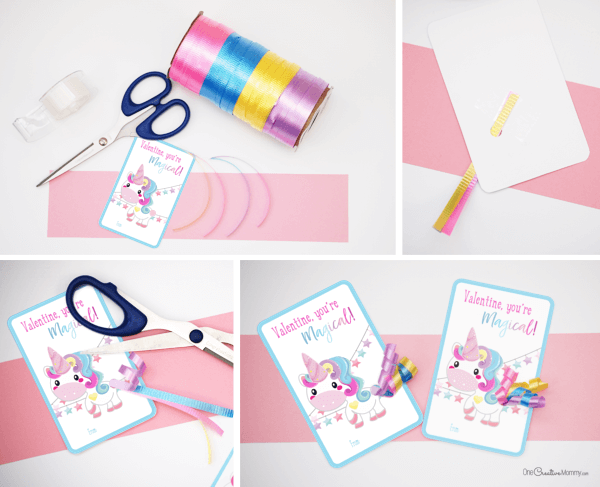 How to make adorable unicorn valentines with ribbon tails {OneCreativeMommy.com} #unicorns #valentinesday #printablevalentines #valentines #schoolvalentine #narwhal