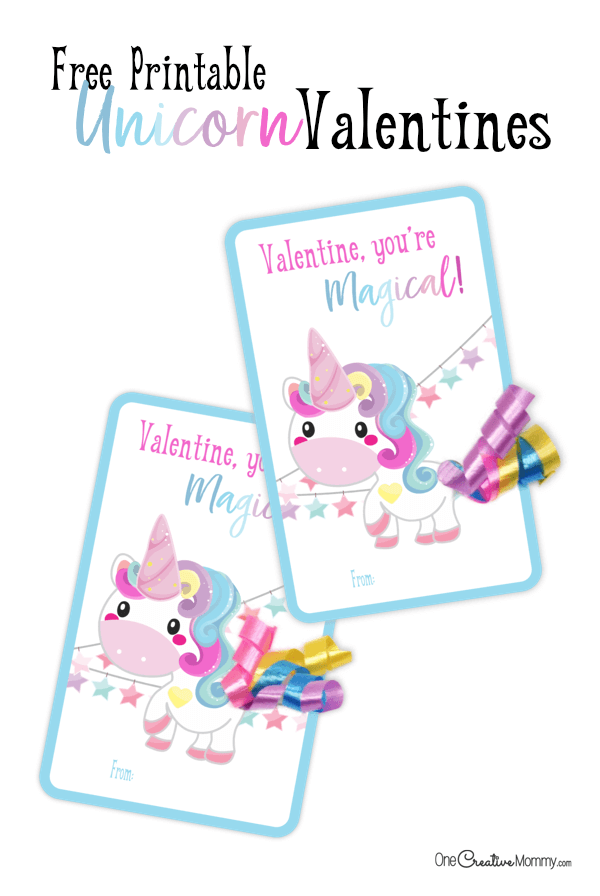 Curling ribbon makes the cutest tails on these free printable classroom valentines. {OneCreativeMommy.com} #unicorns #valentinesday #printablevalentines #valentines #schoolvalentine #narwhal