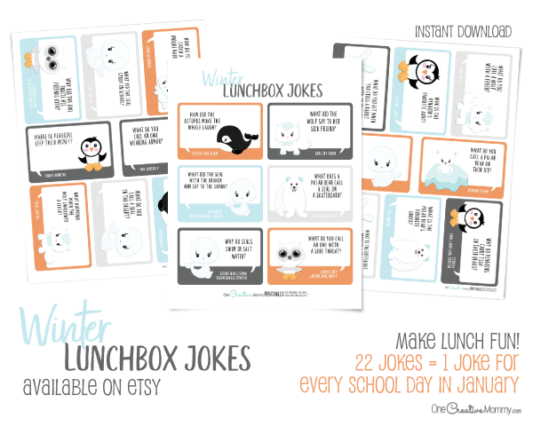 Fill your kids lunchbox with love this Winter with adorable lunchbox jokes! {OneCreativeMommy.com} My kids love getting a joke every day in their lunches! #lunchboxjokes #lunchboxlovenotes #schoollunch