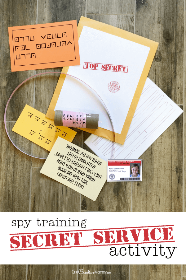 This is such a cool plan for a secret service activity. It's perfect for Activity Days or Girl Scouts and includes printables and instructions. The kids get to train as secret service agents and complete a secret mission complete with spy clues. {OneCreativeMommy.com} #secretservice #activitydays #lds #girlscouts #familynight