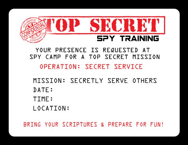 Top Secret Spy Training invitation for Secret Service Activity {OneCreativeMommy.com} #secretservice #activitydays #girlscouts