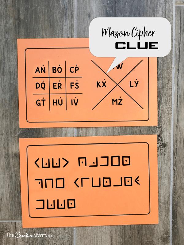 Mason Cipher Clue for Secret Service Activity {OneCreativeMommy.com} #secretservice #spyclues