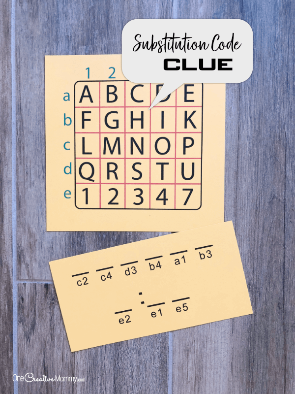 Substitution Cipher Clue for Secret Service Activity {OneCreativeMommy.com} #secretservice #spyclues