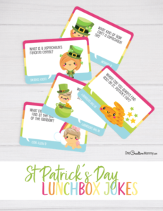 Free St. Patrick's Day lunchbox jokes for kids? I'm on it. My kids love getting jokes in their lunchbox every day, and these are the cutest! {OneCreativeMommy.com} #stpatricksday #lunchboxjokes #lunchboxlovenotes #leprechaun #jokes