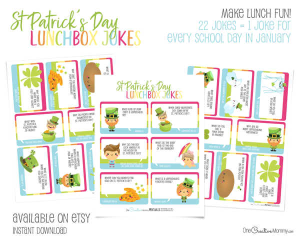 22 St. Patrick's Day Lunchbox Jokes for kids -- one joke for every school day in March {OneCreativeMommy.com} Available on Etsy #stpatricksday #lunchboxjokes #lunchboxlovenotes #leprechaun #jokes