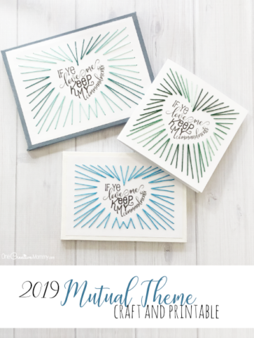 This is such a fun craft to do with the Young Women to highlight the 2019 Mutual Theme! The Beehives loved it! {OneCreativeMommy.com} If Ye Love Me, Keep My Commandments #mutualtheme #lds #youngwomen #stringart