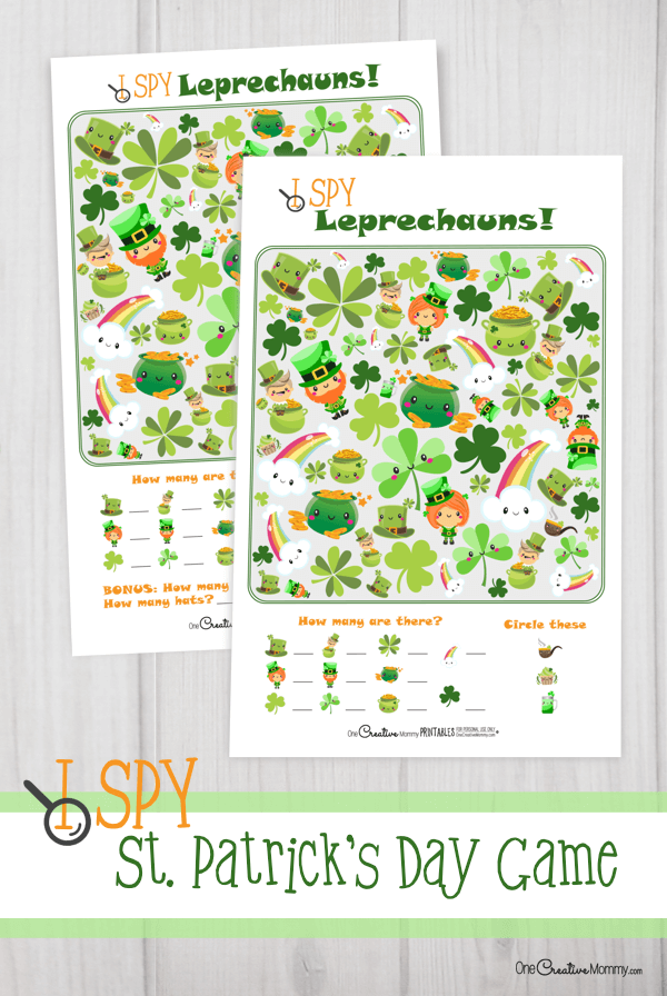 I Spy Leprechauns is one of the cutest St. Patrick's Day activities for kids I've seen. Yay for free printables! {OneCreativeMommy.com} #ispy #stpatricksday #game #leprechauns #printable