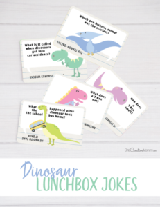 Aren't these dinosaur lunchbox jokes the cutest? I can't wait to send them with my kids. {OneCreativeMommy.com} Free Printables #lunchboxjokes #lunchboxlovenotes #dinosaurs #printable #free