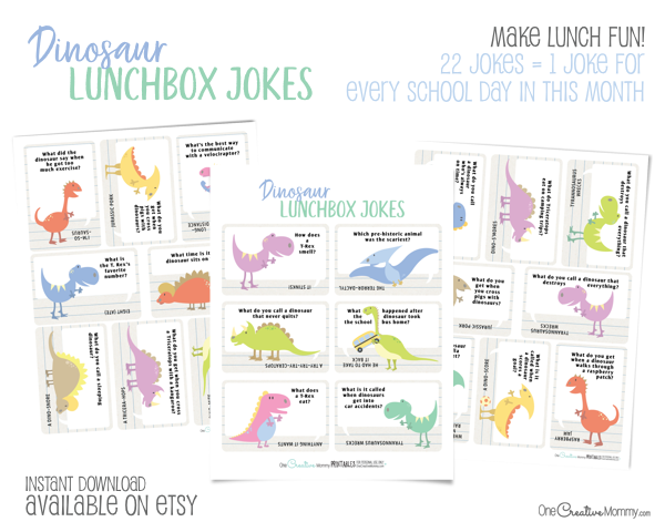 These dinosaur lunchbox jokes are going to make my kids so happy! {OneCreativeMommy.com} Free Printables #lunchboxjokes #lunchboxlovenotes #dinosaurs #printable #free