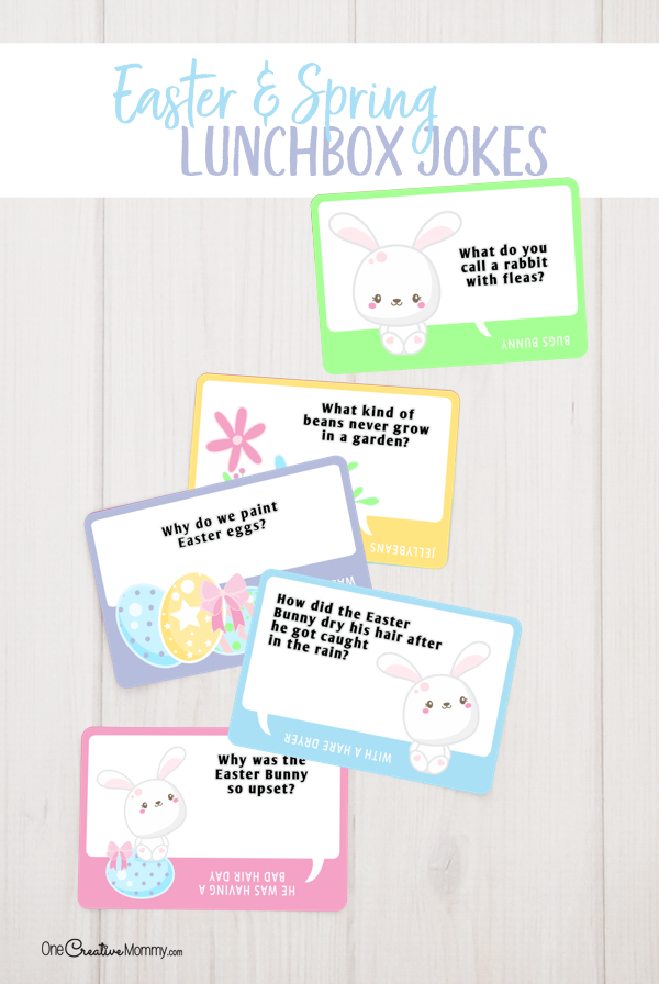 I'm so excited to use these adorable Easter Lunchbox jokes! My kids are always excited for the next joke. {OneCreativeMommy.com} Free Lunchbox Jokes, Easter Activities #lunchboxjokes #lunchboxlovenotes #lunchboxideas #easter