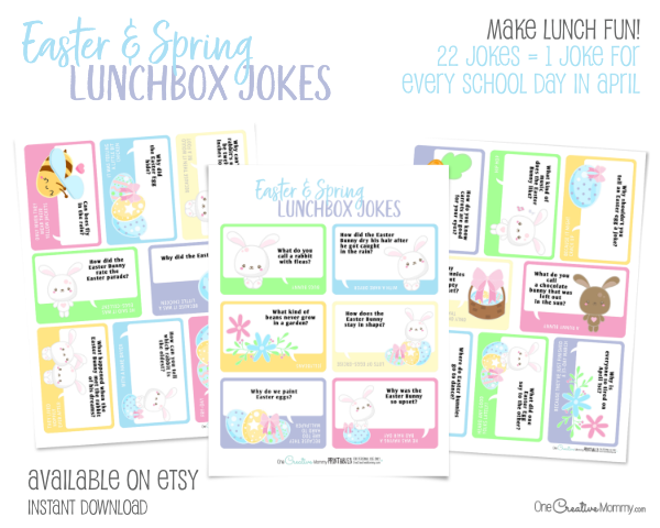 I'm so excited to use these adorable Easter Lunchbox jokes! My kids are always excited for the next joke. {OneCreativeMommy.com} 22 Easter and Spring Lunchbox Jokes, Easter Activities #lunchboxjokes #lunchboxlovenotes #lunchboxideas #easter