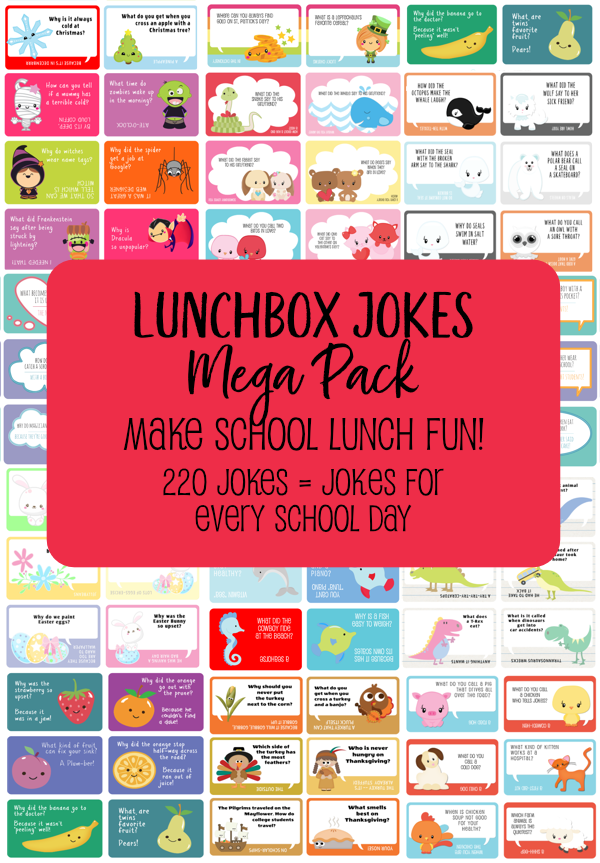 Send your kids to school every day this year with a joke to keep them smiling. 220 clever and cute lunchbox jokes in one inexpensive bundle! {OneCreativeMommy.com on Etsy} #lunchboxjokes #schoollunch #lunchboxlovenotes